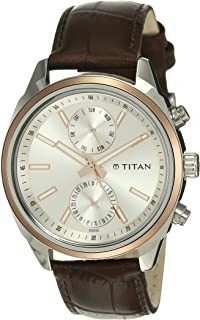 Titan Men's 'Neo' Fashion / Casual / Business / Luxury Mineral Quartz Dial -Leather/Brass and Silver Toned