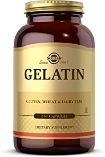 Solgar Gelatin 1680 mg, 250 Capsules - Natural Gelatin - Supports Bone, Joint & Skin Health - Gluten Free, Dairy Free - 83...