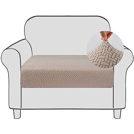 Qishare Housse de Coussin de canapé Housse de siège Extensible avec Fond élastique Lavable Super Doux Housses de Coussin de Fauteuil universelles (Le Sable, 1PC)