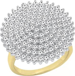 2.05 Carat (Ctw) 10K Gold Round White Diamond Ladies Fashion Cluster Right Hand Ring 2 CT
