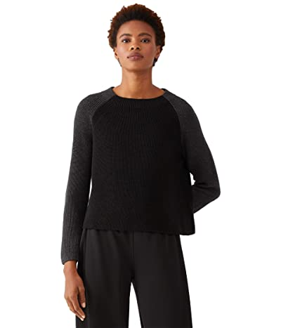 Eileen Fisher Funnel Neck Box Top (Black/Charcoal) Women