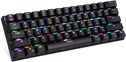 MOTOSPEED 60% Mechanical Gaming Keyboard Compact 61 Keys RGB Backlit Wired/Wireless 3.0 Type-C Gaming/Office Keyboard for PC/Mac/Linux/iPad/iPhone/Smartphone/Laptop Blue Switch