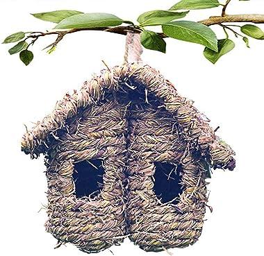 Bird Nest Grass Bird Hut Outdoor Hanging Birdhouse Canaries Nest Chickadee House, Wren Nest Fiber Hand-Woven Bird House Roosting Pocket Bird Hideaway Sparrow House for Finch