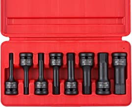 "Neiko 01136B 1/2"" Drive Allen Bit Socket Set, Metric Hex Driver, 6mm to 19mm | 8-Piece Set, Cr-Mo, Impact Grade, One-Piece Construction, 3-Inch Length"