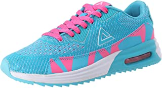 Peak Two-Tone Canvas Mesh Leather Accent Lace-up Running Sneakers for Women