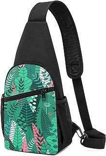 Mochila bandolera con patrón sin costuras con hojas de patrón tropical, ligera para el hombro, bolsa cruzada, para viajes,...