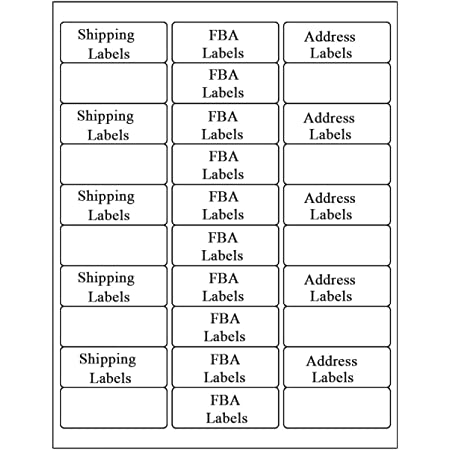 "7500 Address Labels 1/"" x 2 5//8/"" Amazon FBA Labels 30 Per Sheet 30-UP 250 Sheets"