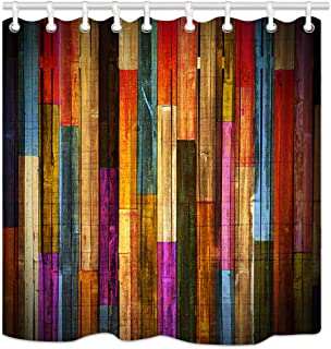 Vintage Colorful Wooden Wallpaper Shower Curtains, Grunge Rustic Planks Barn House Wood Art Print, Polyester Fabric Waterproof Farm Shower Curtain, Bathroom Accessory Sets, Hooks Included, 70X70in