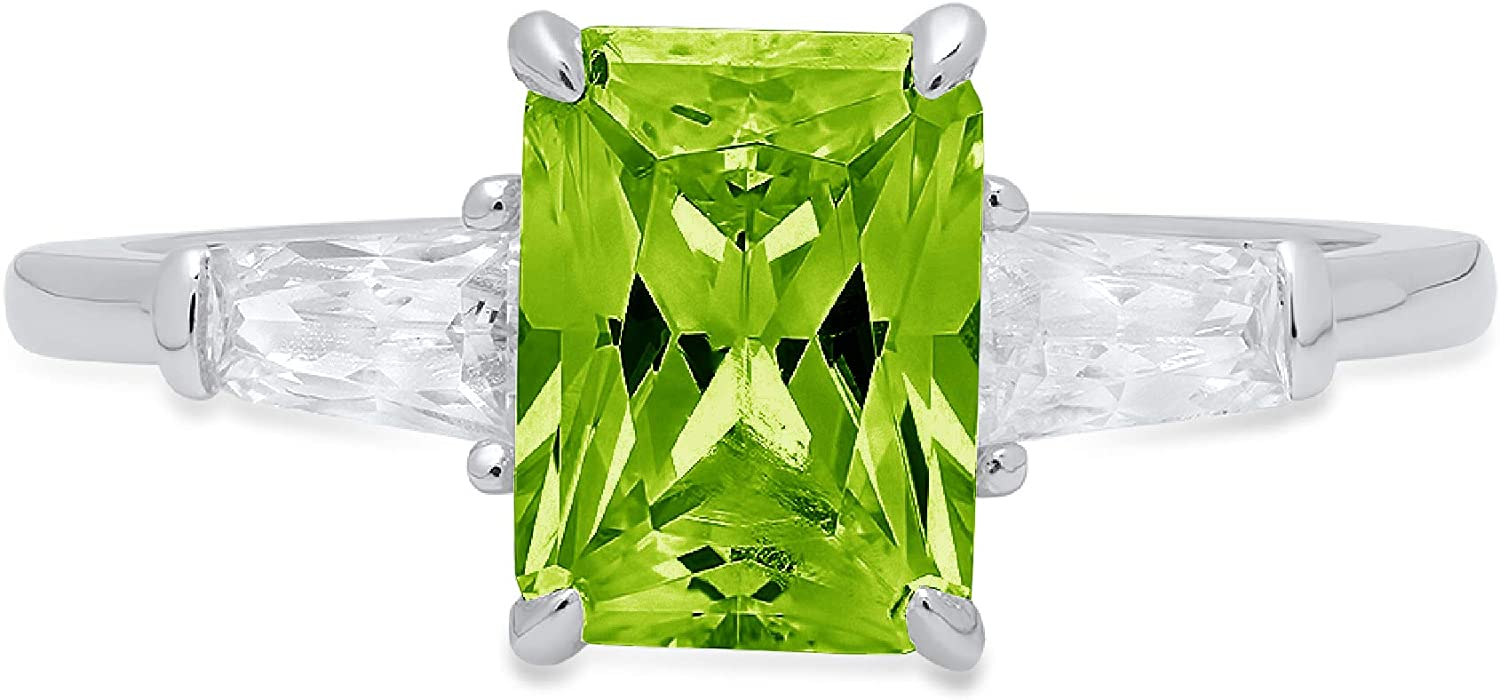 1.97ct Emerald Baguette cut 3 stone Solitaire with Accent Flawless Genuine Natural Pure Green Peridot Gemstone VVS1 Designer Modern Statement Ring Solid 14k White Gold