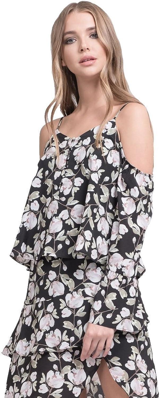 J.O.A. JOA Button Front Cold Shoulder Flare Top Bohemian Blouse Black Floral