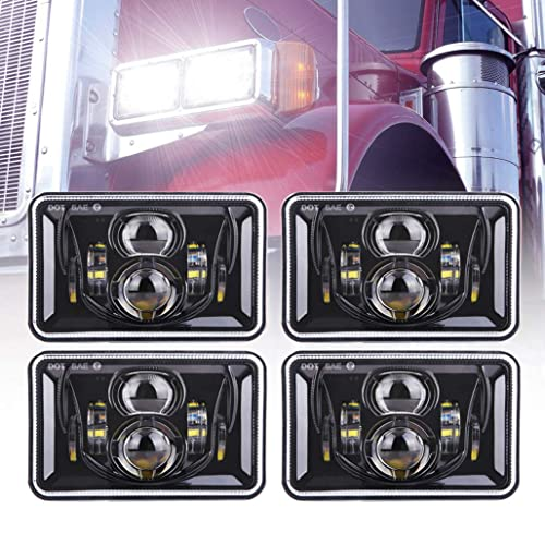 4pcs 60W Rectangular 4x6 Led Headlights Dot Approved H4656 H4651 H4652 H4666 H6545 Headlight Replacement for