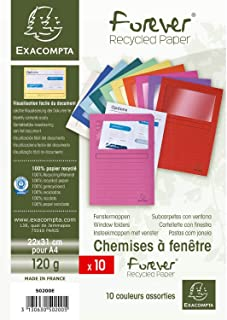 Exacompta - Réf. 50200E - Paquet de 10 chemises à fenetre Forever - 22x31cm - Couleurs assorties