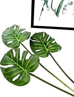 Ahvoler 3 Pcs Artificial Tropical Palm Leaves Fake Monstera Tree Plant for Home Decorations 24.5