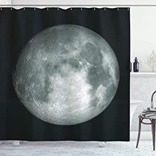 Ambesonne Galaxy Shower Curtain, Moon Graphic Image Trippy Rock Detailed Surface Planet Astronomy Outer Space Print, Cloth Fabric Bathroom Decor Set with Hooks, 70