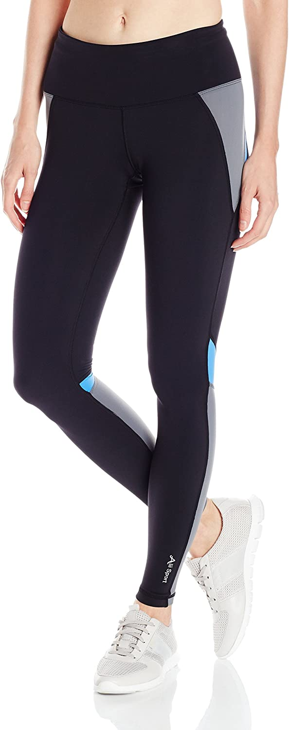 Alii Lifestyle Women's Power Sport Run Tights, Black purple bluee, Small
