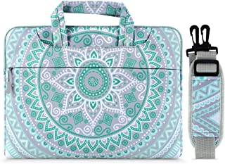 MOSISO Laptop Shoulder Bag Canvas Mandala Pattern Protective Briefcase Carrying Handbag Sleeve Case Cover Multi Mint Green & Blue 14-15.6 Inch