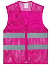GOGO Unisex High Visibility Zipper Front Mesh Safety Vest with Reflective Strips-Hot Pink-2XL