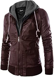 Pomo-Z Men's Faux Leather Removable Hood Jacket
