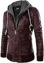 Pomo-Z Men's Faux Leather Removable Hood Jacket