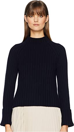 Button Cuff Mock Neck