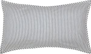 VHC Brands Sawyer Mill Large Pillow Cover Farmhouse Country Stripe Decorative Cotton King Size Blue White 21x37 Sham