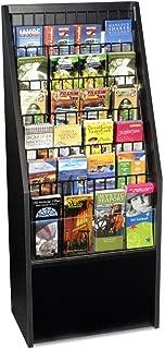 12 or 24-Pocket Literature Rack Brochure Holder Stand for Floor - Black Melamine with Wire Pockets