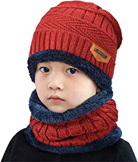 Tuopuda Beanie Bambino Cappello e Scaldacollo Invernale Berretto con Sciarpa Set in Maglia Knitted Bimbo Neonata Cappellin...