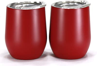Trendiware Double Wall Vacuum Sealed Stainless Steel Stemless Wine Glass 12oz (Crimson Red, 2)