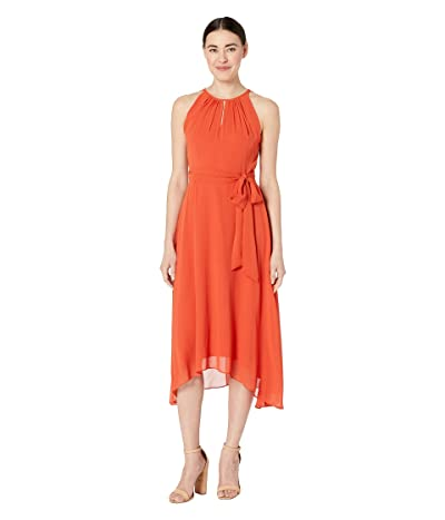 Tahari by ASL Petite Sleeveless Chiffon Keyhole Midi (Orange Spice) Women