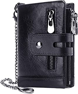 REETEE Mens Wallet RFID Blocking Men's Genuine Leather Wallet and Zipper Coin Pocket Bifold Purse with Chain 16 Credit Car...