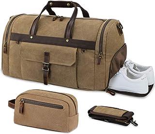 Reisetasche Herren Weekender mit Schuhfach Kulturtasche Wasserdicht Große Retro Canvas Reisetaschen Freizeittasche Handgepäck für Männer Frauen 55L