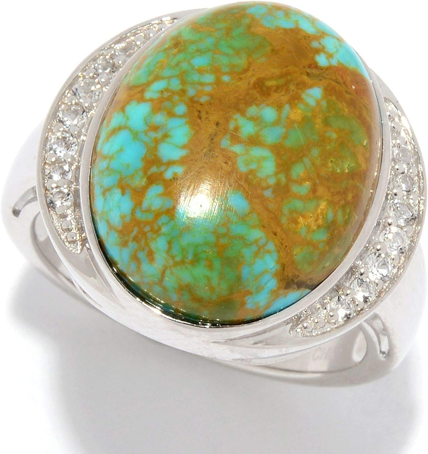 Ranking TOP11 925 Cheap mail order shopping Sterling Silver Tyrone Turquoise Ring White Topaz