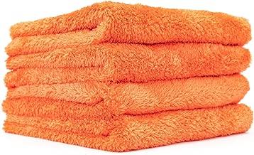 The Rag Company (4-Pack 16 in. x 16 in. Eagle EDGELESS 500 Professional Korean 70/30 Super Plush 500gsm Microfiber Detailing Towels (16x16, Orange)