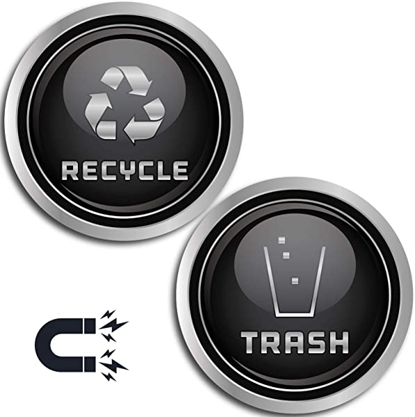 Recycle And Trash Logo Symbol Elegant Golden Look For Trash Cans Containers And Walls Laminated Vinyl Decal XSmall Silver Magnetic