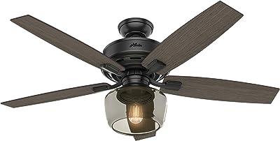 """Hunter Fan Company 54187 Ceiling fan, 52"""", Matte Black"""