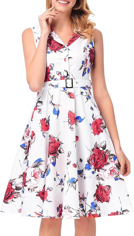 Jongood Fashion Burst Print a Word Skirt 50s Retro SingleBreasted Dress Women's New