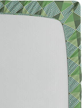 Ambesonne Abstract Green Fitted Sheet, Modernistic Geometric with Creative Monochrome Squares Triangles, Soft Decorative Fabr
