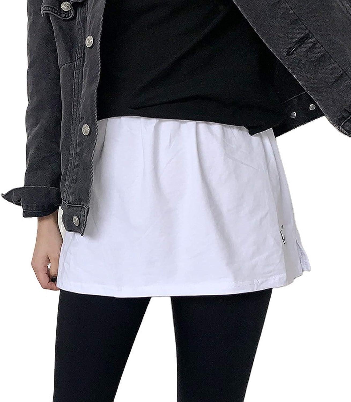 Women Adjustable Layering Fake Top Lower Sweep Skirt Half-Length Splitting A Version Basic Sweatshirt Skirt