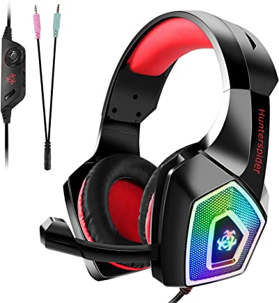 Auriculares Gaming Premium para PS4, PC, Xbox One, Cascos Gaming con LED, Auriculares de diadema Adjustables con Micrófono y control de volumen, Bass Surround y Cancelación de Ruido