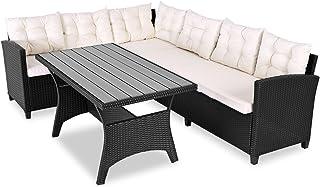 Casaria Conjunto de Muebles de jardín Poliratán Set de 2 Asientos y Mesa con Tablero WPC 6 Personas