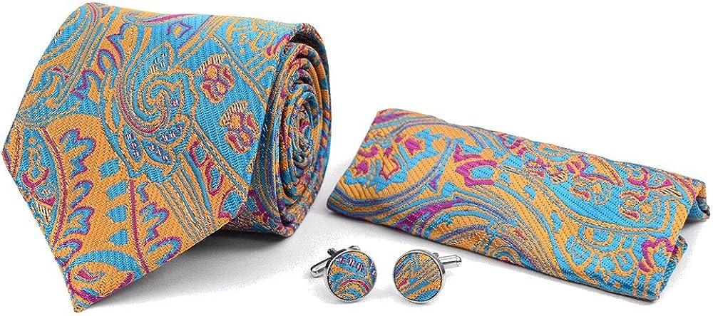 Men's 3 PC Colorful Floral Paisley Tie Necktie, Pocket Square & Matching Cufflinks Set