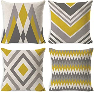 DUSEN Farmhouse Modern Simple Geometric Style Cotton Linen Burlap Square Cushion Covers for Sofa, Bench, Bed, Auto Seat, 18 x 18 Inches, Set of 4 Throw Pillows Home Decor (Yellow-Gray Geometric)�