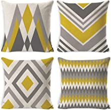 DUSEN Decorative Throw Pillow Covers for Couch, Sofa, or Bed Set of 4 18 x 18 inch Modern Quality Design Cotton Linen Cusi...