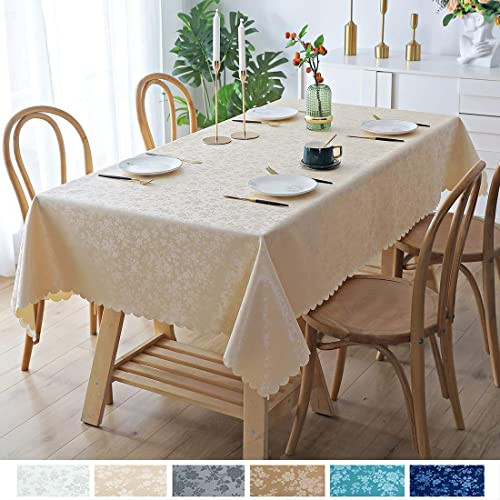 smiry Waterproof Vinyl Tablecloth, Rectangle Stain-Proof Oil-Proof Heavy Duty Table Cloth, Wipeable Table Cover for K...