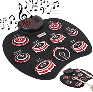 Kids Electronic Drum Kit, USB Foldable Roll Up Drum Pad, Black Multifunction with Headphone Jack for Beginner Drummer