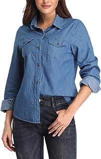 PEIQI Women's Denim Shirt Casual Tunic Long Sleeve Jean Button Down Shirts