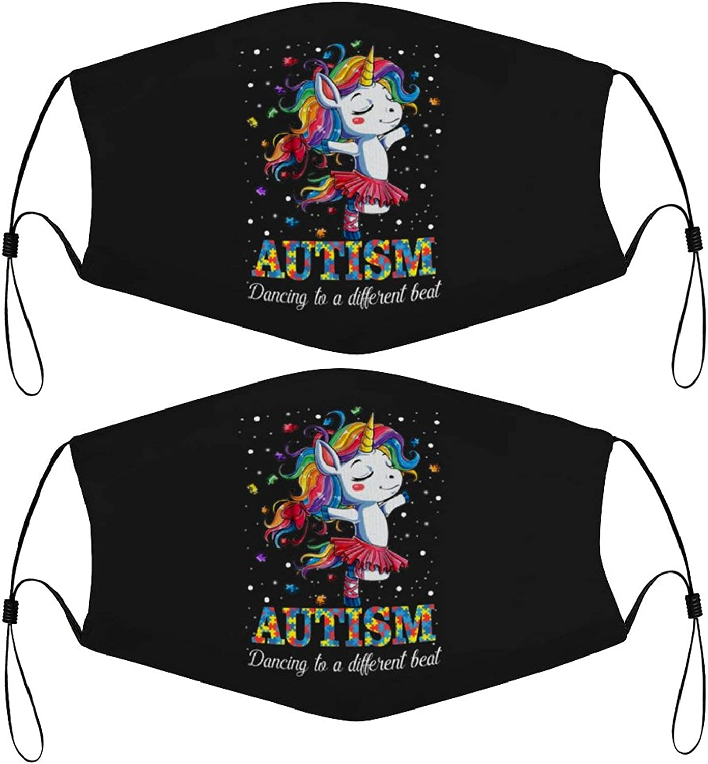 Autism Dancing to A Different Beat Unicorn Kids Face Mask Set of 2 with 4 Filters Washable Reusable Adjustable Black Cloth Bandanas Scarf Neck Gaiters for Adult Men Women Fashion Designs
