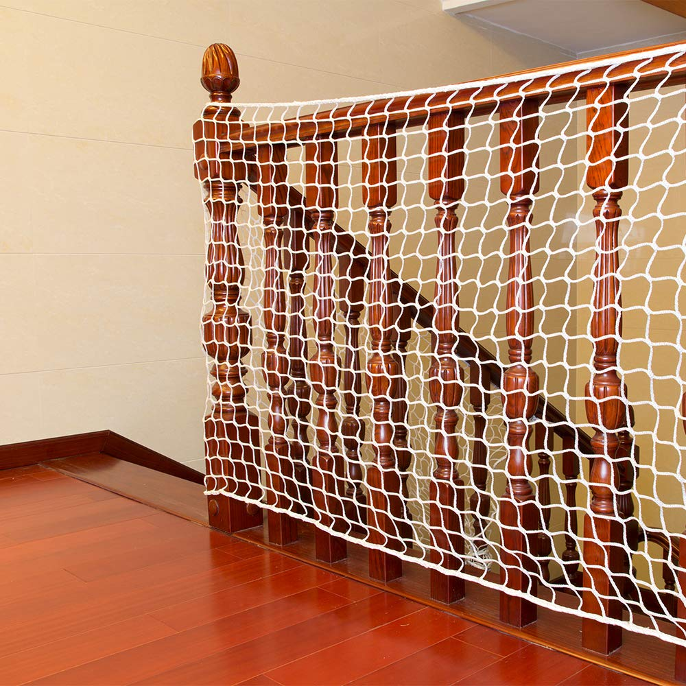 Safety Stairs Rail Net Child Proofing Balcony Banister Railing Guard Baby Proof Stair Guards Mesh Indoor 9.8ft x 3.2ft ( 3mx1m)White