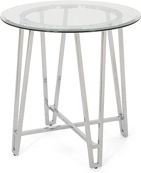杰西现代铁端表与圆形钢化玻璃顶部银