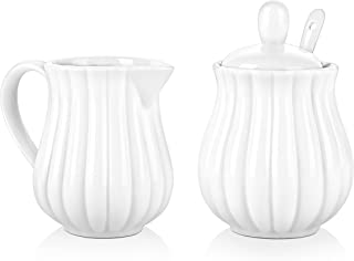 DOWAN Sugar and Creamer Sets for Coffee, Tea, 3 Piece Set with Sugar Bowl, Cream Pitcher, Spoon, Ceramic Set with Lid, White